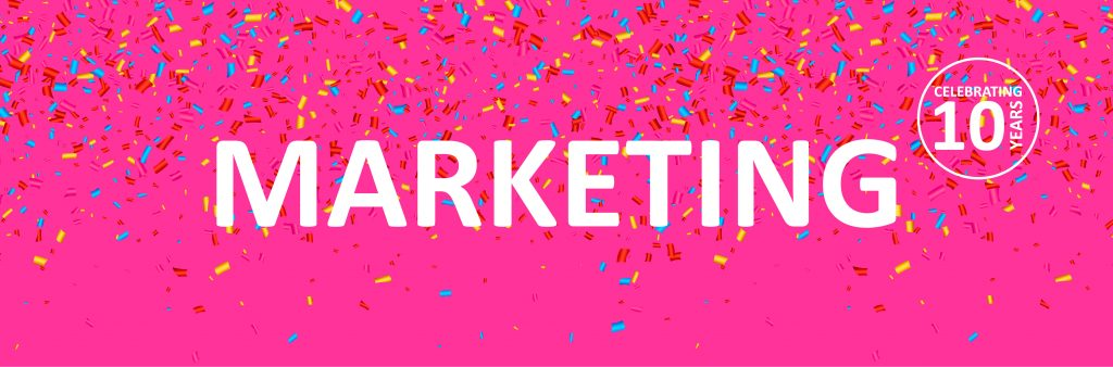 An image with a bright pink background, the word Marketing in white, with confetti falling around it.
