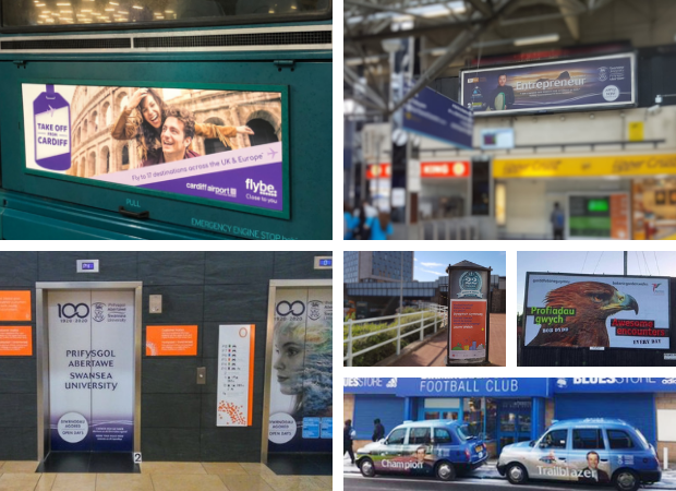A collage of our media including bus rears, train station advertising and taxi liveries.